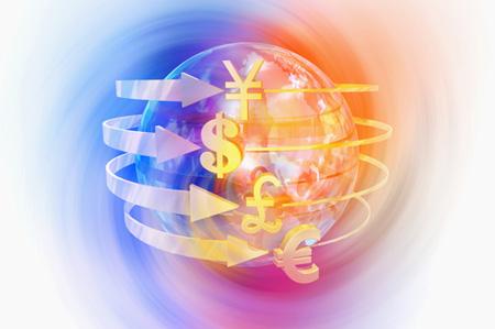Currency Symbols Circling Globe